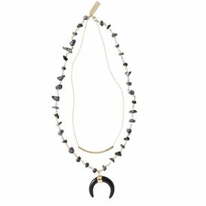 Crescent layering necklace in black and navy.